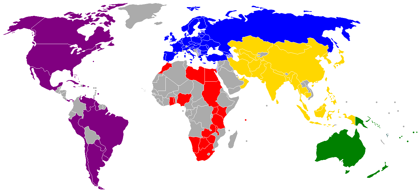 A map of all the hockey confederations around the world