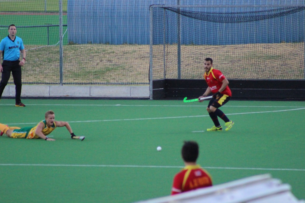 SA player putting his body on the line with a diving interception in defence